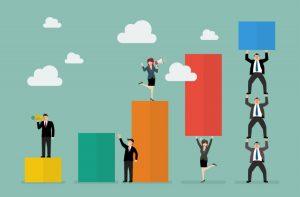Business teamwork with bar chart. Business teamwork concept