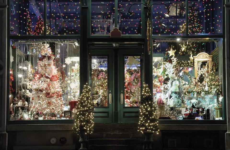 decoração de natal para vitrine de loja